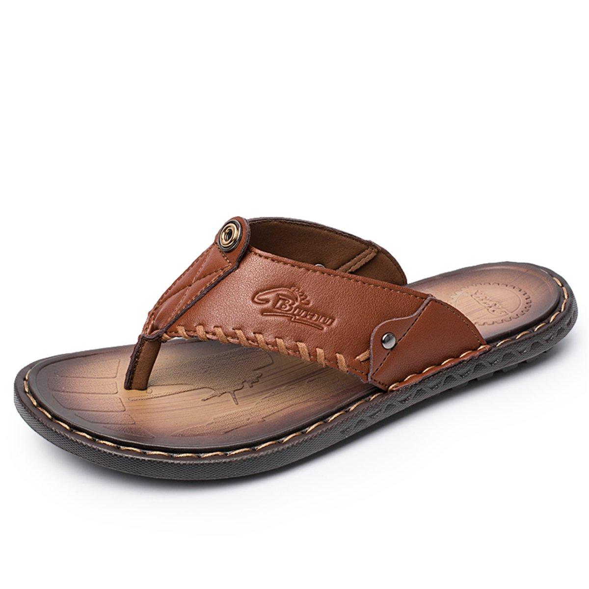 Gracosy Flip Flops, Unisex Zehentrenner Flache Hausschuhe Pantoletten Sommer Schuhe Slippers Weich Anti-Rutsch T-Strap Sandalen fuuml;r Herren Damenr  46 EU|Braun-e