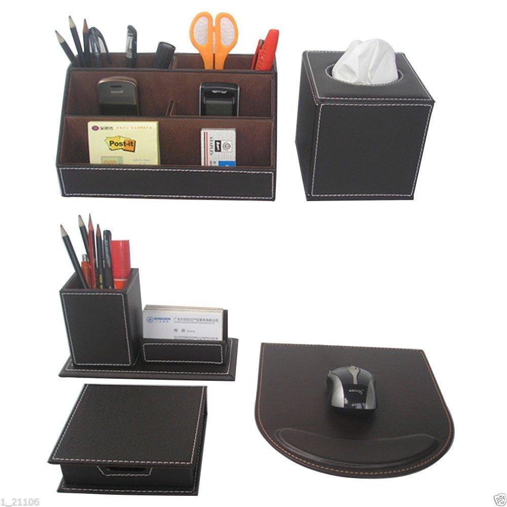 KINGFOM 5pcs Leder büro Schreibtisch Set -- Inklusive Schreibtisch Organisator, Kosmetiktücherbox, Mauspad, Stifthalter mit Visitenkartenhalter und Zettelbox (T50-5-Schwarz) Kosmetiktücherbox