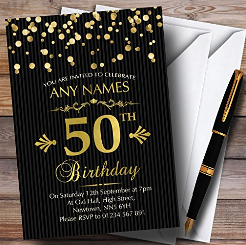 (Gold Confetti Black Striped 50th Personalized Birthday Party Invitations)