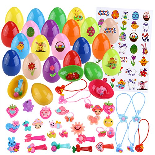 Toy Filled Easter Eggs Easter Party Favors, Included 36pcs Eggs, 36pcs Toys (Hair  Ties, Hair Clips ect ), Easter Sticker (Tie Easter Eggs)