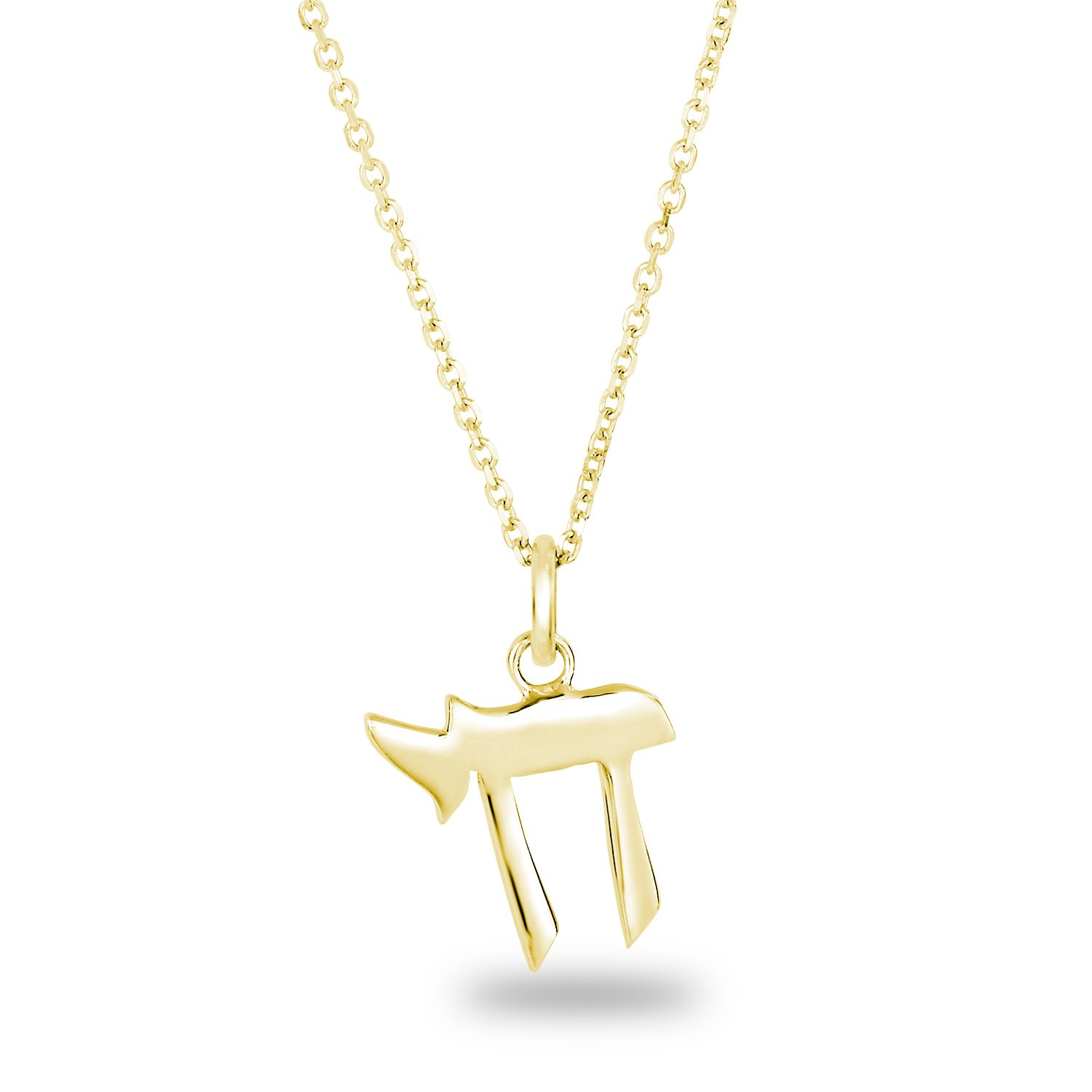 Yellow Gold Plated Silver Plain Shiny Finish Hebrew Letter Chai Sign of Life Pendant Necklace, 18''