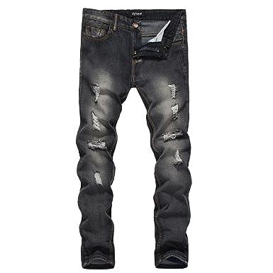 Cebbay Jean Homme Pantalons Denim Droite Slim Fit, Style Vintage avec Trous  Brisés, Pantalon LégerJeans Confortable Nouveau  Amazon.fr  Vêtements et ... b3ed7e0bf668