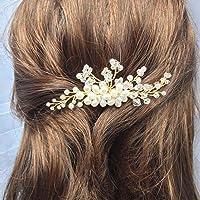 Jovono Bröllop Hårkam Brud Huvuddelar med pärlor för kvinnor och flickor En storlek Guld