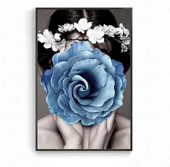 Geiqianjiumai Cartel nórdico en Blanco y Negro Belleza Encantadora Mujer Flor Pared Arte Lienzo Pintura Dormitorio decoración Cuadro sin Marco Pintura 30X45 cm: Amazon.es: Hogar