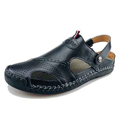 UPIShi Mens Closed Toe Casual Leather Strap Athletic Beach Outdoor Adjustable Sandals Fisherman Shoes | Athletic