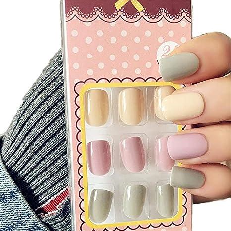 Amazon.com: jindin hoja de 24 uñas postizas corto con ...
