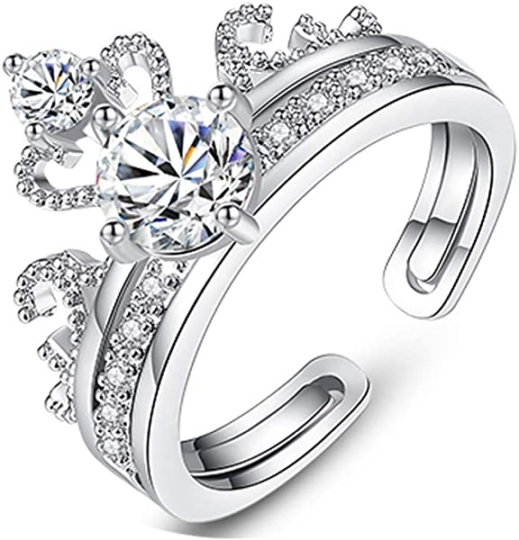 c4edf12cbdbbf Hantaostyle Engagement Open Ring, S925 Silver Zirconium Ring (Silver ...