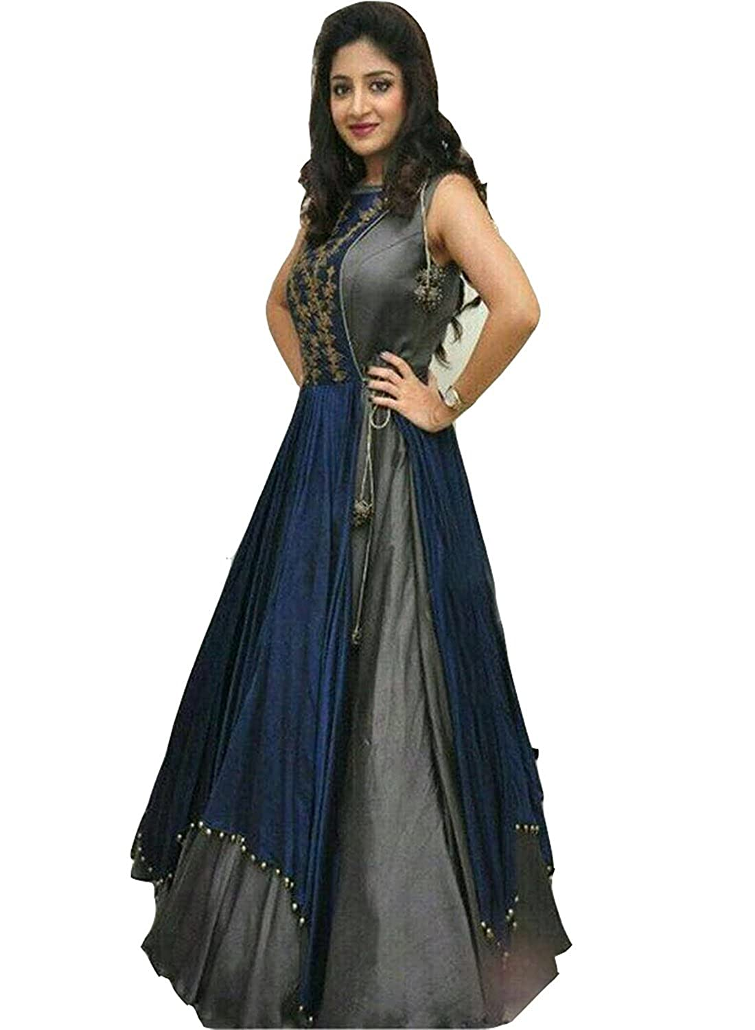 Buy Hk Textile Women S Cotton Silk Salwar Suit 2020 Grey 011 Free Size Grey At Amazon In