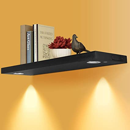 Costzon Floating Wall Mounted Shelf with LED Lights