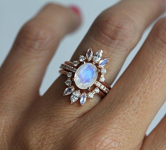 Amazoncom Moonstone Wedding Ring Set Unique Diamond Engagement