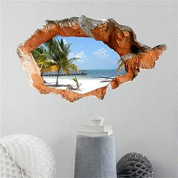 3D Wandaufkleber Sommer Strand Pvc Waschbar Wandtattoos Wohnzimmer Dekoration Dreidimensionale Dekorative Wandmalereien Und Kreative