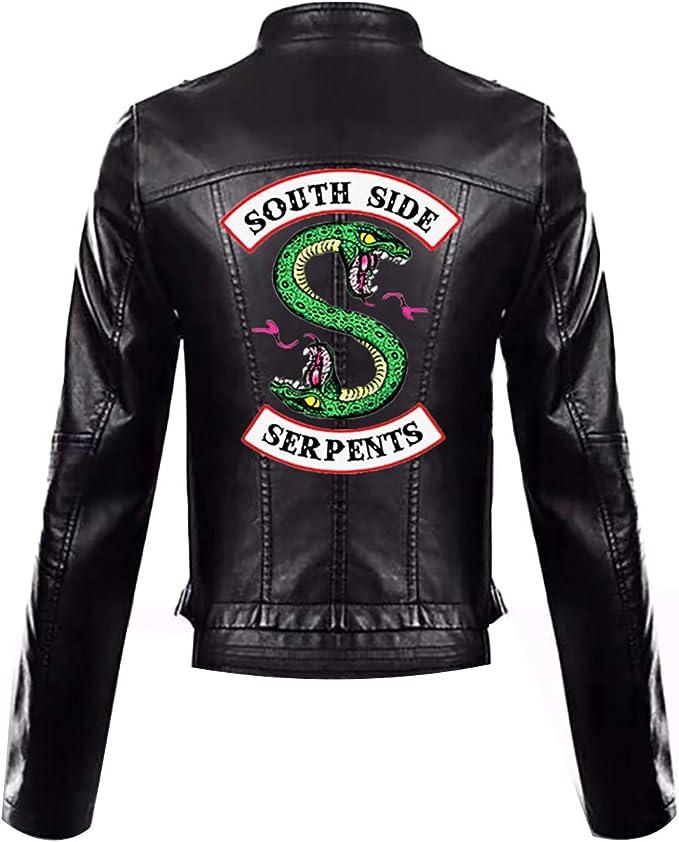 StMandy Giacca Riverdale Giacca da Bambina Rossa Serpents Biker Gang Southside Giacca in Pelle Nera-4