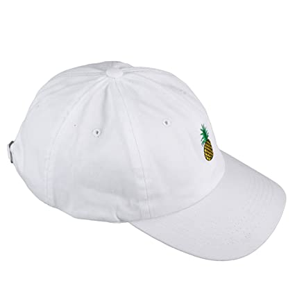 cc19400a6ecf4 Buy Pineapple Embroidery Twill Cotton Peaked Cap Baseball Cap Low Profile  Hat (White) Online at Low Prices in India - Amazon.in