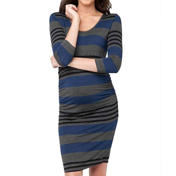 WEIMEITE Vestido de Maternidad para Embarazadas Vestido de Enfermería Cómodo LayeBlue Easy Lactancia Azul S