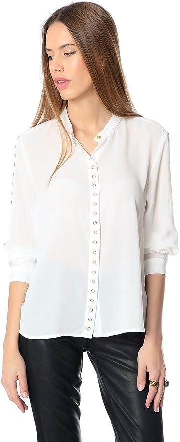 Q2 Mujer Camisa blanca de mao con detalle de ojales - XS - Blanco: Amazon.es: Ropa y accesorios