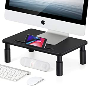 FITUEYES Computer Monitor Stand Riser Height and Angle Adjustable Multi Media Speaker TV PC Laptop Desktop Stand Storage Organizer for iMac,Printer,Notebook,Xbox One,DT103901WB