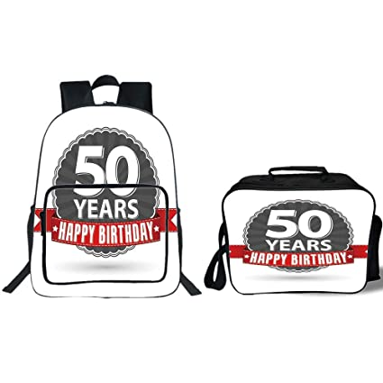 IPrint 19quot School Backpack Lunch Bag Bundle50th Birthday DecorationsRetro Label