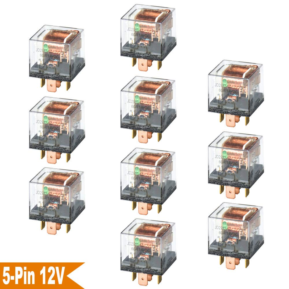 Ehdis DC 12V 60A 1NO SPDT 5 Pin Relay Car Heavy Duty Split Charge Waterproof Transparent Case, Pack of 5