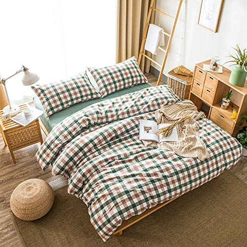 DOUH Washed Cotton Duvet Cover Twin(68×90 inch), 3 Piece(1 Duvet Cover, 2 Pillow Shams) Ultra Soft Green Brown Geometric Pattern Duvet Cover Set, Easy Care Bedding Set