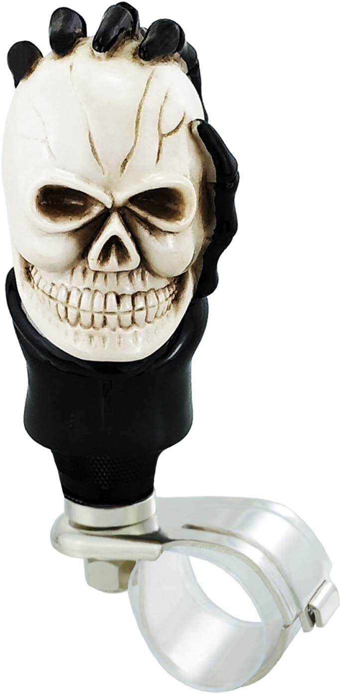 Black Lunsom Skull Steering Wheel Spinner Resin Car Hand Bone Handle Universal Suicide Knob Turning Booster Aid Helper Stick Head Fit Most Automatic Manual Vehicle