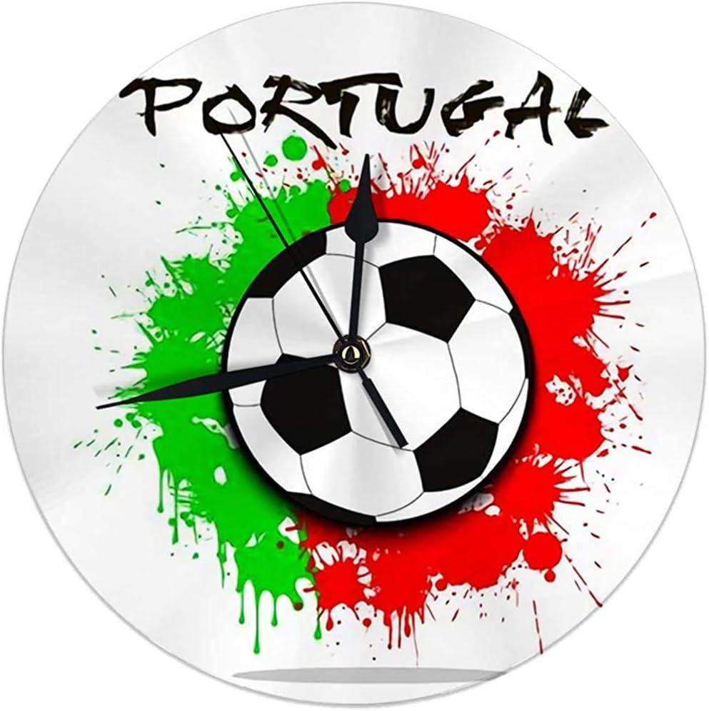 Zseeda Reloj de Pared Moderno Balón de fútbol Portugal y Manchas ...