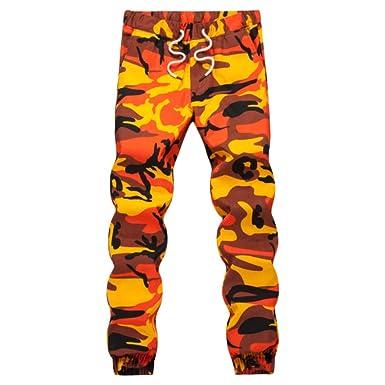 Loeay Pantalones de chándal de Camuflaje Naranja para Hombre ...