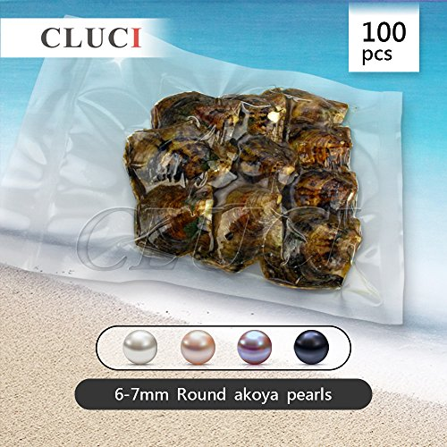 6-7mm Round Akoya Cultured Pearl Oyster 100pcs, 10 Bags(White, Pink, Purple,Dyed Black) by NY Jewelry (Image #1)