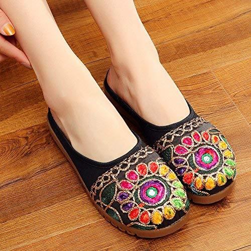 Bestickte Schuhe Sehnensohle ethnischer Stil weiblicher Flip Flop Mode bequem Sandalen schwarz 37 (Farbe   - Größe   -)