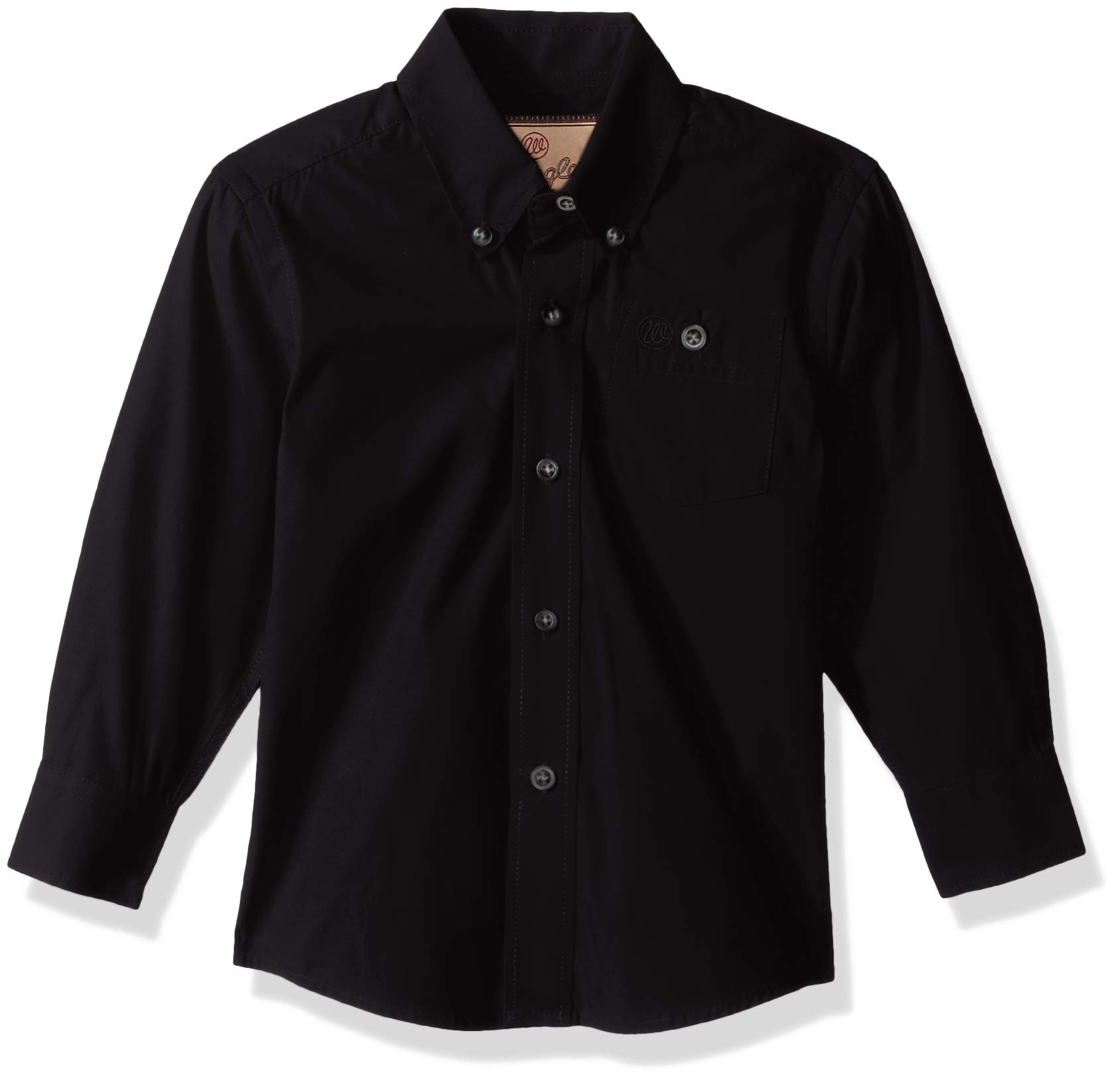 Wrangler Boys' Classic One Pocket Long Sleeve Button Shirt, Black, XXS