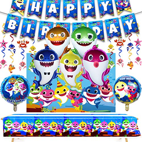 AWESMR 40 Pieces Baby Shark Theme Birthday Party Supplies and Decorations with 1 Piece Baby Shark Vinyl Backdrop 30 Pieces Baby Shark Swirl Decorations 1 Piece Baby Shark Birthday Banner 7 Pieces Shar