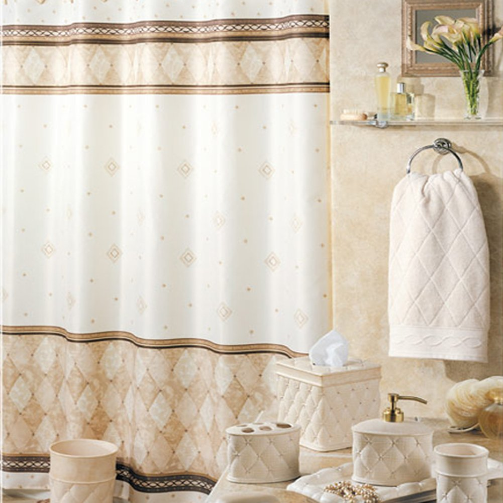 DS BATH Corinthia Beige Shower Curtain,Polyester Fabric Shower Curtain,Print Shower Curtains for Bathroom,Contemporary Decorative Waterproof Bathroom Curtains,72 inches W x 72 inches H