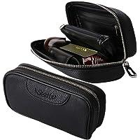 Scotte(TM) Durable Leather 2 Pipe Tobacco Pouch case Black