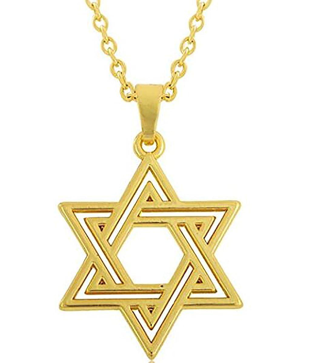 Religiöse Antik Gold Hexagramm Jüdischer Stern von David Anhänger Halskette für Damen und Herren GeXiang