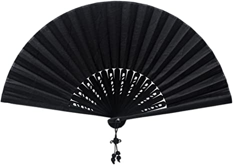 Foldable Chinese Style Black Fans Lace Fabric Silk Folding Hand Held Dance Fans