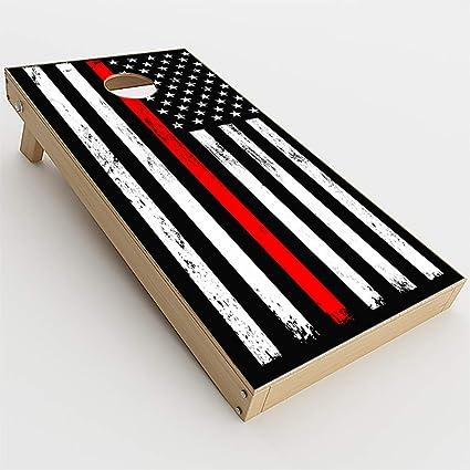LAMINATED Thin Red Line Flag Cornhole Board Skin Wrap Decal SET