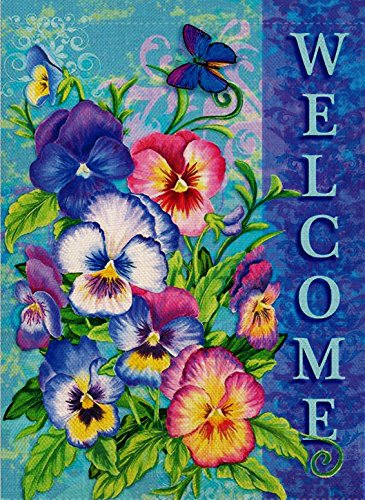 (Dyrenson Welcome Quote Garden Flag Double Sided Home Decorative, Pansies Flower House Yard Flag, Floral Garden Yard Decorations, Butterfly Seasonal Outdoor Flag 12 x 18 for Summer Spring)