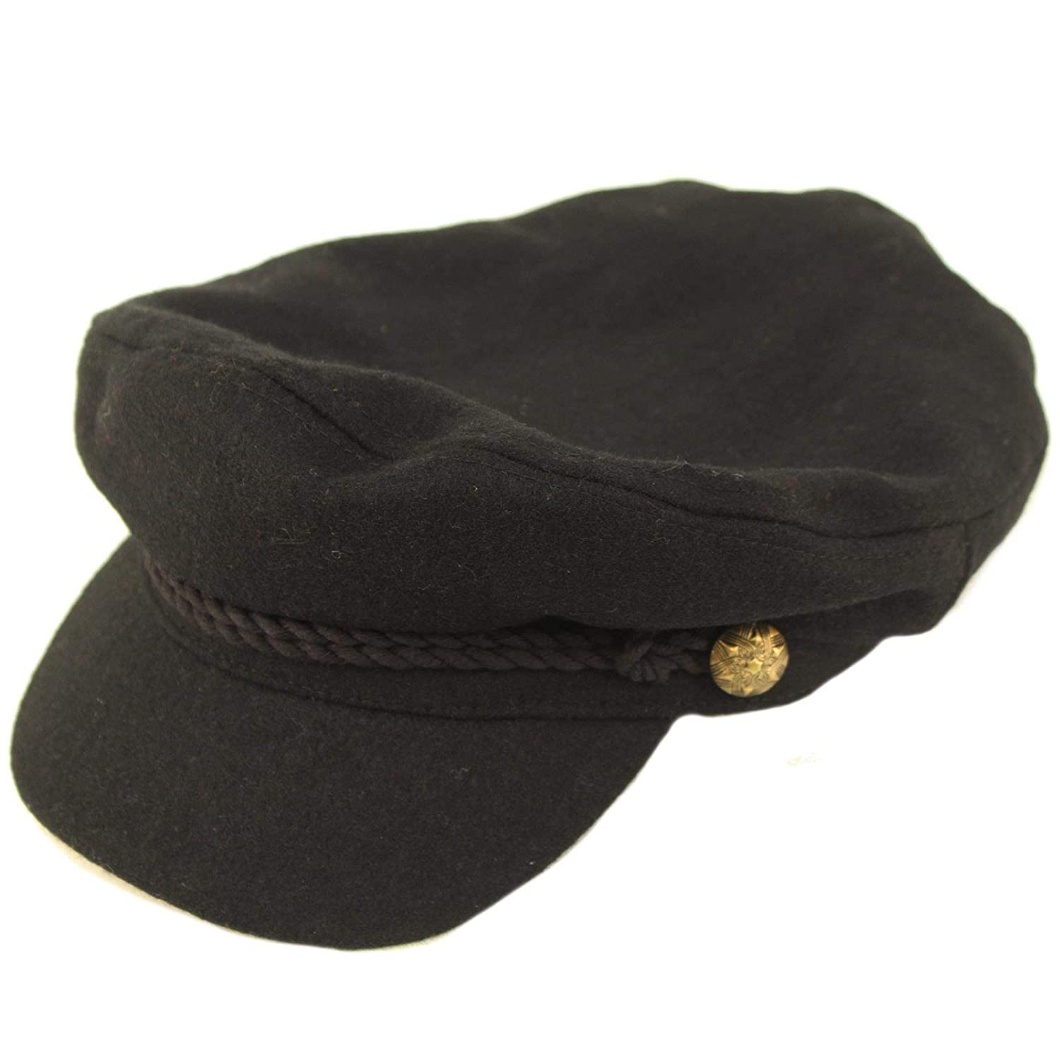 Mens 100/% Soft Wool Greek Fisherman Sailor Fiddler Driver Hat Flat Cap