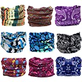 Pack of 9PCS Outdoor Multifunctional Sports Magic Scarf, Magic Bandanas Tube, Seamless Scarf, Collars Muffler Scarf Face Mask, High Elastic Magic Headband with Uv Resistance, Headscarves, Headbands