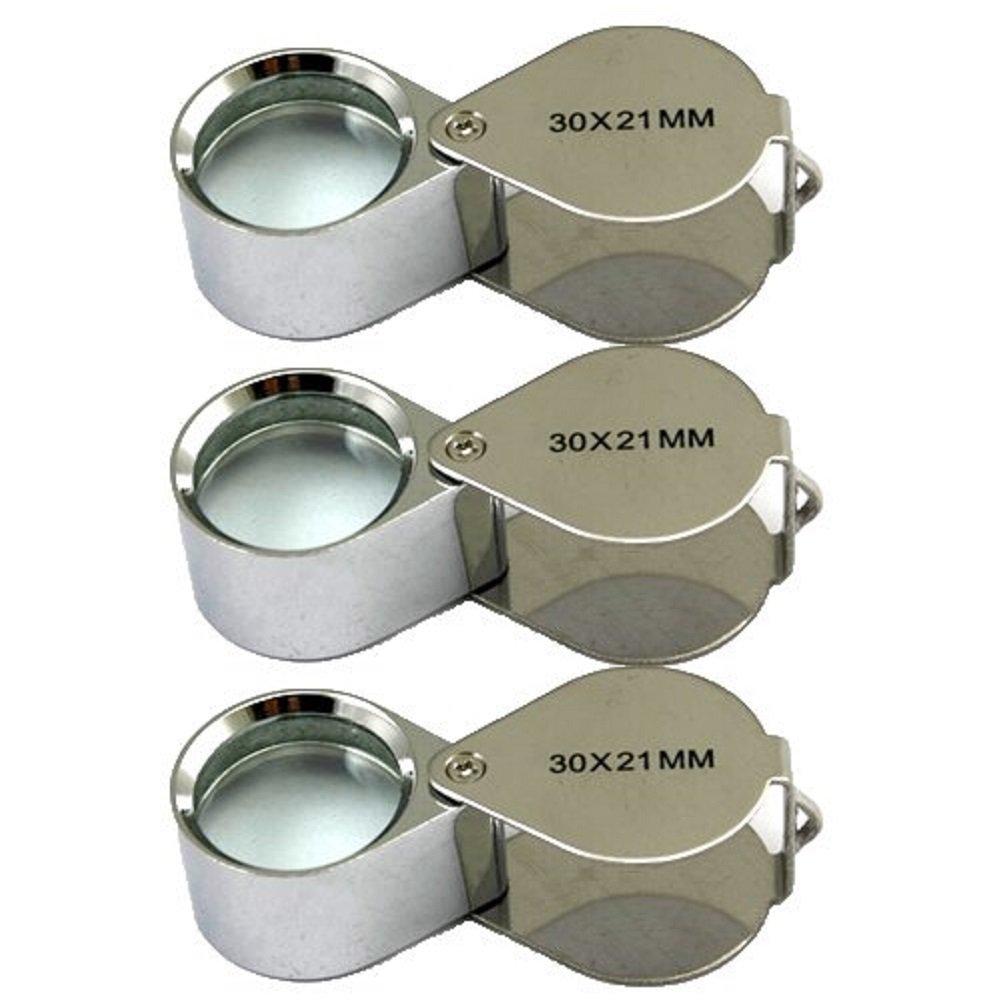 3 Pcs Mini 30X 21mm Jeweler Jeweler's Jewelry Loupe Magnifier Magnifying Glass Silver w/ Box Crazy Cart