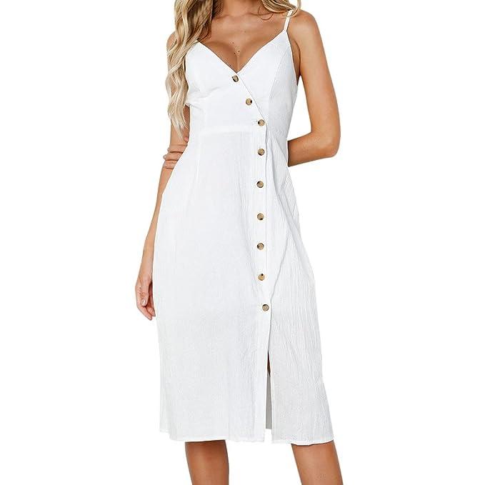BeautyVan Sexy Women's Summer Beach Midi Dress Shift Dress Button Sleeveless Sundresses