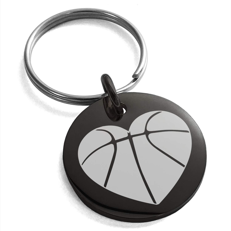 Tioneer ステンレススチール ラブ バスケットボール ハート刻印 小さなメダリオン サークル チャーム キーホルダー キーリング  ブラック B07GVQWLTD