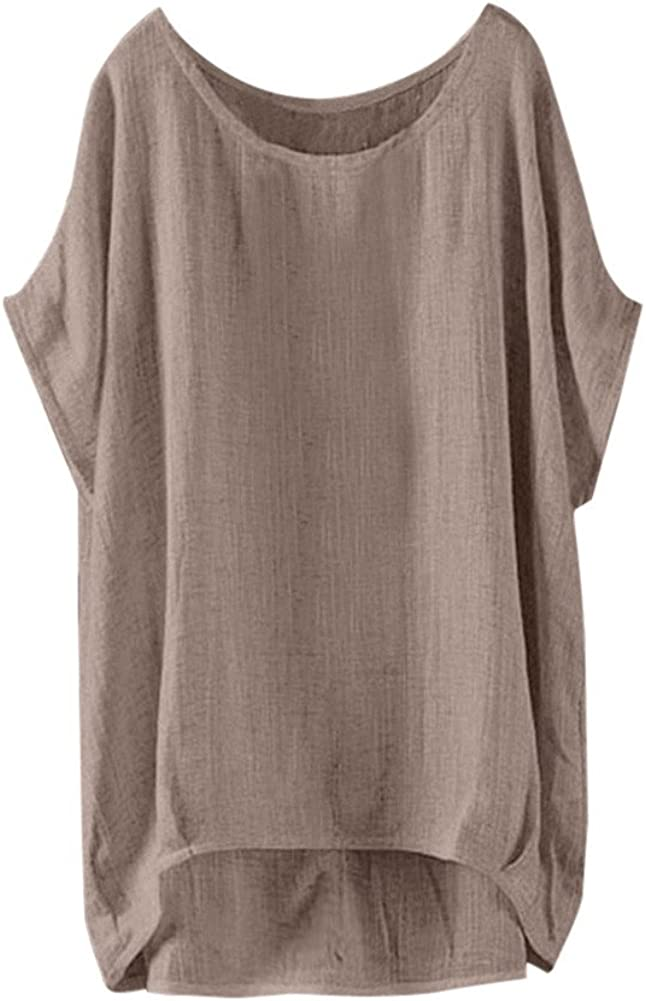 Realdo Womens Plus Size T-Shirt Womens Bat Short Sleeve Casual Loose Top Thin Solid Pullover
