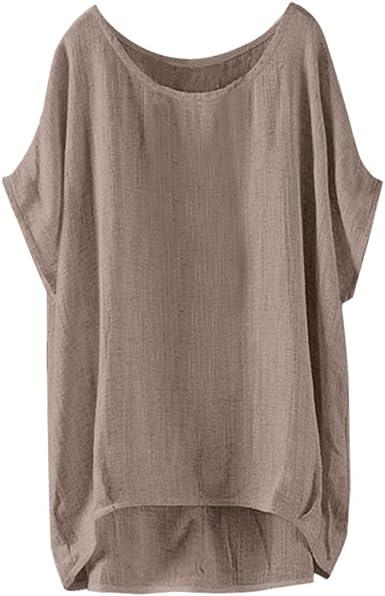 Moda para Mujer Camiseta Casual Cuello en O Talla Grande Blusa Vintage Suelta Camisa Sencillo Chaleco Sencillo Camisero Básico Color Sólido: Amazon.es: Ropa y accesorios
