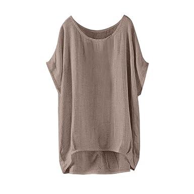 ... Mujeres de Manga Larga botón Flojo Trim Blusa de Color sólido de Cuello Redondo de Siete Cuartos de Manga túnica Camiseta: Amazon.es: Ropa y accesorios