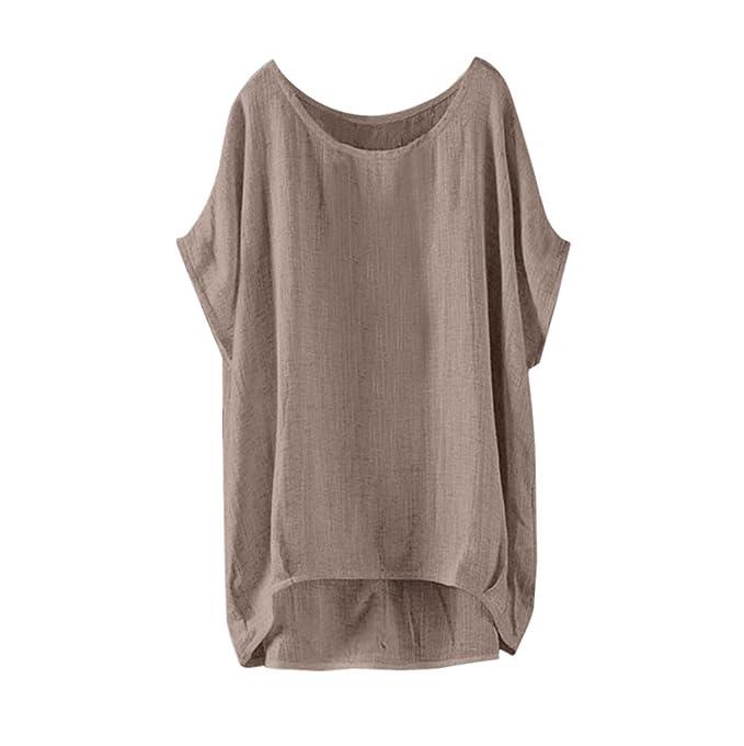 Moda para Mujer Camiseta Casual Cuello en O Talla Grande Blusa Vintage Suelta Camisa Sencillo Chaleco Sencillo Camisero Básico Color Sólido: Amazon.es: Ropa ...
