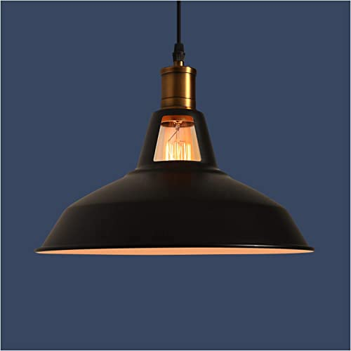 MINGYALL Industrial Metal Pendant Light, Matte Black, 12.2 inches Retro Hanging Light Fixture, with 47.2 inches Adjustable Cord, Using E26 Based Bulb