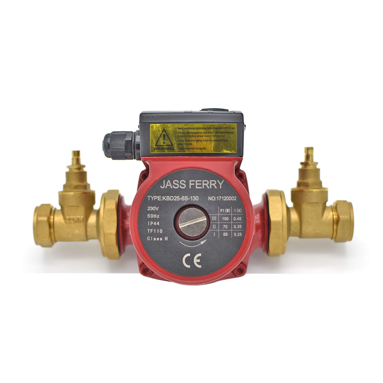 JASS FERRY Central Heating Pumps with 2X Gate Type Pump Valve 22mm x 1.1/2' Hot Water Cooling Circulating Systems Replacement