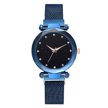 Watopi - Reloj de pulsera analógico con correa de malla y diamantes de imitación de cuarzo para mujer azul: Amazon.es: Hogar