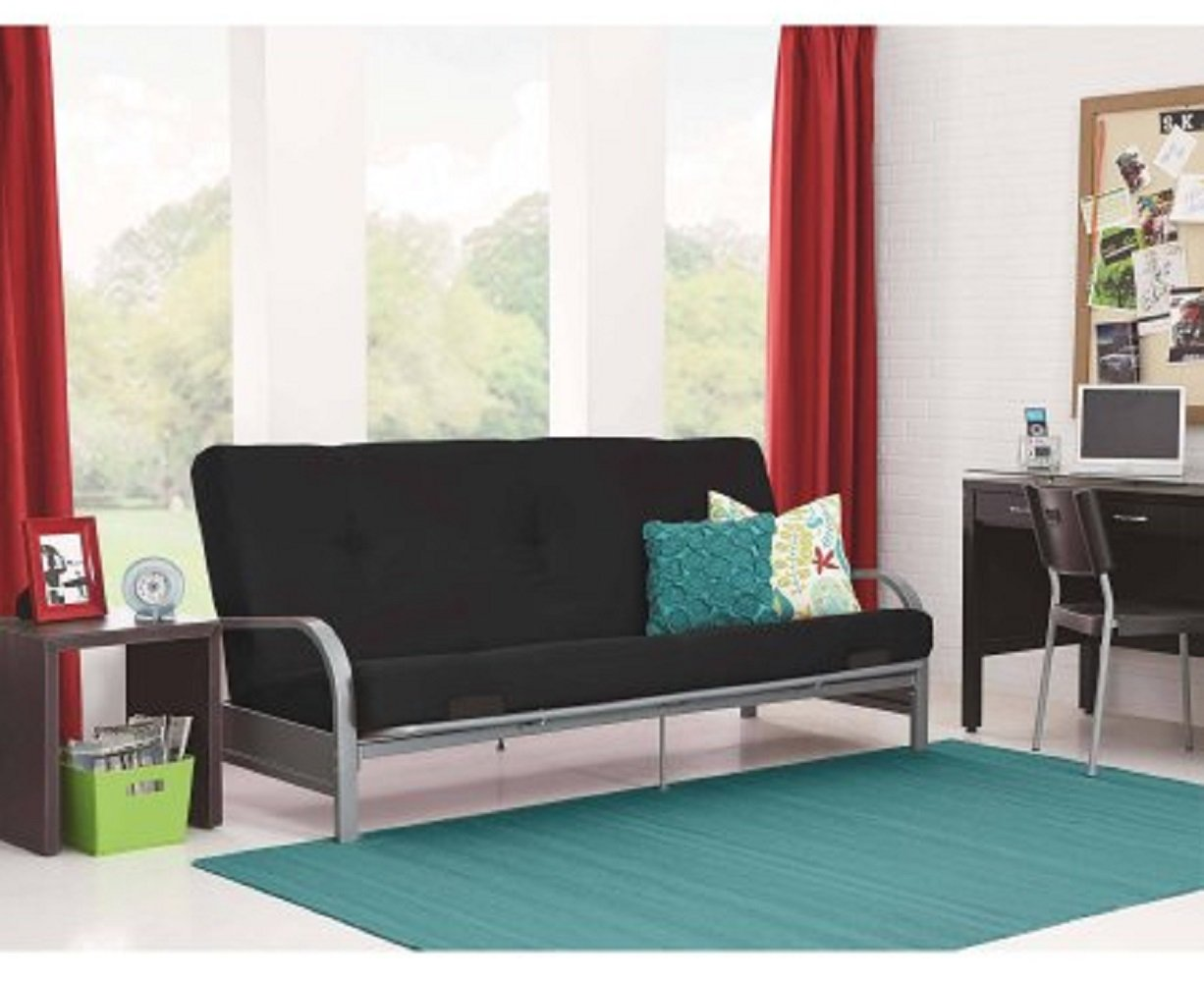 futon for living room. Amazon com  Modern Convertible Futon Sofa Bed Silver Metal Arm Frame with Full Size Mattress Kitchen Dining