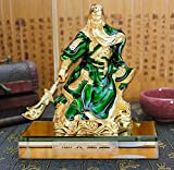 BMDHA Office Decoration Guan Yu Alloy + Crystal Base Decoration/Office/Car/Table/(With Perfume),Green